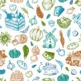 Landbouwbedrijf, oogst, groenten en vruchten Patroon Stock Afbeeldingen