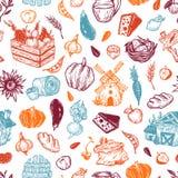 Landbouwbedrijf, oogst, groenten en vruchten Patroon Royalty-vrije Stock Afbeeldingen