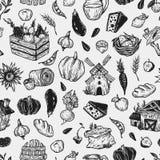 Landbouwbedrijf, oogst, groenten en vruchten Patroon Royalty-vrije Stock Foto