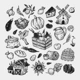 Landbouwbedrijf, oogst, groenten en vruchten reeks Stock Afbeeldingen