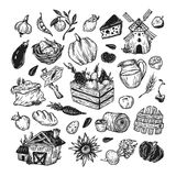 Landbouwbedrijf, oogst, groenten en vruchten reeks Stock Foto