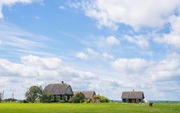 Landbouwbedrijf op het groene gras met blauwe hemel en wolken Stock Afbeeldingen