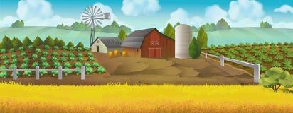Landbouwbedrijf Panoramalandschap royalty-vrije illustratie