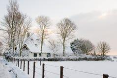 Landbouwbedrijf in Sneeuw Royalty-vrije Stock Foto