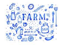 Landbouwbedrijf - symbolen van het waterverfmenu van het ultramarijn Stock Afbeelding