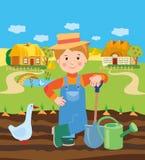 Landbouwbedrijf van Working In The van de beeldverhaal het Jonge Landbouwer Het landschap van het dorp Vector illustratie Stock Afbeeldingen