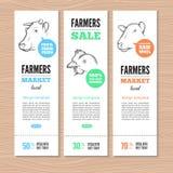 Landbouwbedrijf vectorbanners Stock Afbeeldingen