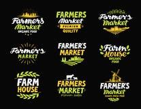 Landbouwbedrijf vectorembleem Landbouwersmarkt, de landbouw, de pictogrammen van de landbouwinzameling of symbolen Royalty-vrije Stock Afbeeldingen