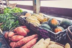 Landbouwbedrijf verse aardappels en pompoen op vertoning bij de oogstfestival van de landbouwersmarkt stock foto's