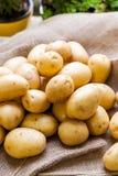 Landbouwbedrijf verse aardappels op een jutezak Stock Foto's