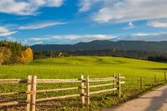 Landbouwbedrijf, Weide en Blauwe Hemel dichtbij Wieskirche - Steingaden, Duitsland Royalty-vrije Stock Foto