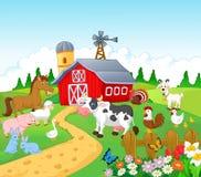 Landbouwbedrijfachtergrond met dierenbeeldverhaal Stock Afbeelding