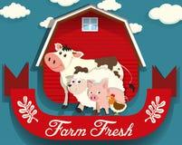 Landbouwbedrijfdieren die op landbouwbedrijf leven vector illustratie