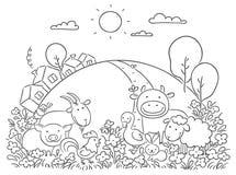 Landbouwbedrijfdieren en de groene heuvel vector illustratie
