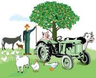 Landbouwbedrijfdieren met landbouwer Royalty-vrije Stock Foto's