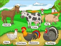 Landbouwbedrijfdieren met namenbeeldverhaal onderwijs Royalty-vrije Stock Afbeelding