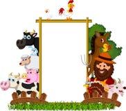 Landbouwbedrijffamilie met lege raad Royalty-vrije Stock Foto