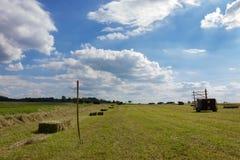 landbouwbedrijfgebied met hey vork en machine onder blauwe hemel Stock Foto
