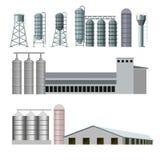 Landbouwbedrijfgebouwen en bouw vector illustratie