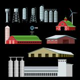 Landbouwbedrijfgebouwen en bouw royalty-vrije illustratie