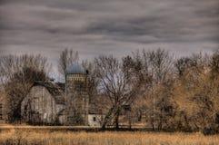 Landbouwbedrijfgebouwen in hout Stock Foto