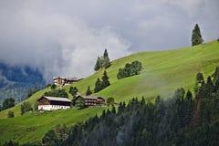 Landbouwbedrijfgebouwen op een grasrijke helling in de Oostenrijkse Alpen met flard van bos in de voorgrond royalty-vrije stock foto's