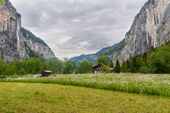 Landbouwbedrijfhuis op Bloemgebied Zwitserland, donkere de lentedag Stock Afbeeldingen