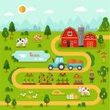 Landbouwbedrijfkaart Stock Fotografie