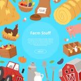 Landbouwbedrijfmateriaal en landbouwindustrieachtergrond Bannner met het materiaal van het beeldverhaallandbouwbedrijf, voedsel e royalty-vrije illustratie
