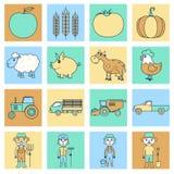 Landbouwbedrijfpictogrammen geplaatst vlakke lijn Stock Foto's