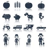 Landbouwbedrijfpictogrammen geplaatst zwart Stock Foto