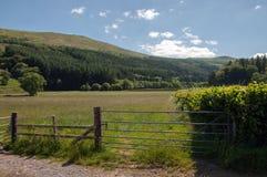 Landbouwbedrijfpoort en landschap in de Brecon-bakens van Wales Stock Fotografie