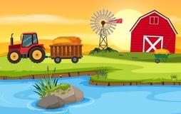 Landbouwbedrijfscène met schuur en tractor royalty-vrije illustratie