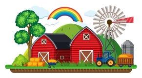 Landbouwbedrijfscène met tractor en hooi vector illustratie