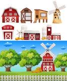 Landbouwbedrijfscène met verschillende gebouwen stock illustratie