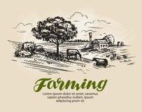 Landbouwbedrijfschets Landelijk landschap, landbouw, de landbouw vectorillustratie royalty-vrije illustratie