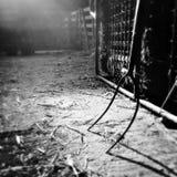 Landbouwbedrijfschuur en materiaal in zonlicht in zwart-wit Royalty-vrije Stock Foto