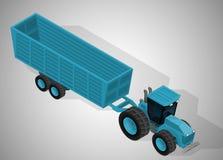 Landbouwbedrijftractor met een aanhangwagen Royalty-vrije Stock Afbeeldingen