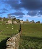 Landbouwbedrijfwoningbouw in platteland met steenmuur royalty-vrije stock fotografie