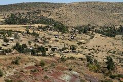 Landbouwbedrijven en dorpen in Ethiopië royalty-vrije stock foto