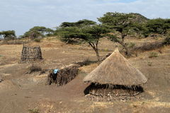 Landbouwbedrijven en dorpen in Ethiopië royalty-vrije stock afbeelding