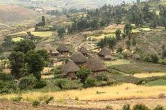 Landbouwbedrijven en dorpen in Ethiopië royalty-vrije stock afbeeldingen