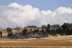 Landbouwbedrijven en dorpen in Ethiopië stock foto