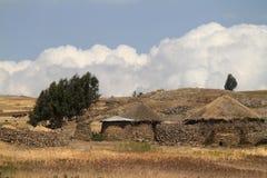Landbouwbedrijven en dorpen in Ethiopië stock fotografie