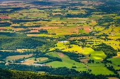 Landbouwbedrijven en huizen in de Shenandoah-Vallei, van Shenandoah N wordt gezien dat royalty-vrije stock foto's