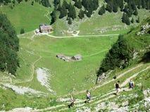 Landbouwbedrijven en weilanden op plateaubergketens Alpstein royalty-vrije stock foto
