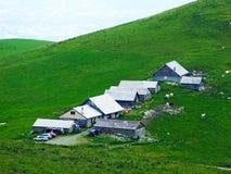 Landbouwbedrijven en weilanden van het Appenzellerland-gebied stock foto's