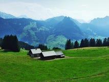 Landbouwbedrijven en weilanden van het Obertoggenburg-gebied royalty-vrije stock fotografie