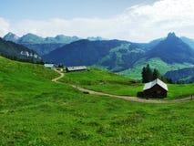 Landbouwbedrijven en weilanden van het Obertoggenburg-gebied royalty-vrije stock foto's