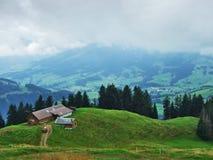 Landbouwbedrijven en weilanden van het Ostschweiz-gebied royalty-vrije stock foto
